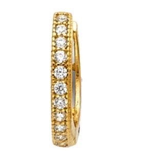 Jewelry - 14k yellow gold 9mm CZ pave huggies Earrings